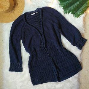 Lucky Brand Blue Boho Crochet Cardigan Size M